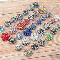 Wholesale Hot High quality Mix Many styles mm Metal Snap Button Charm Rhinestone Styles Button Ginger Snaps Jewelry making jewel