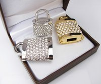Wholesale Usb Real 256 - Metal Lock Shaped Crystal USB Flash Memory 2.0 USB Real Capcity 4GB 8GB 16GB Gold Sliver Color