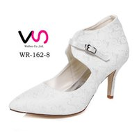 Wholesale Low Heel Pointy Shoes - Delicated Ivory Plain Lace Embroidered Pump Pointy Toe Elegance Bridal Shoes Wedding Dress Shoes Handmade Shoes for Wedding Party Shoes