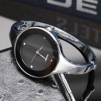 Wholesale Bracelet Girl Watch - Fashion Brand women's girl silver Steel Metal Band quartz bracelet wrist watch C06