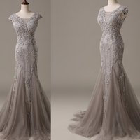 Wholesale Silver Grey Mermaid Dresses - 2016 Grey Evening Dresses Wear Mermaid Style Real Pictures Long Tulle Appliques Lace Formal Prom Gowns For Women Vestido De Festa