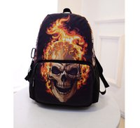 Wholesale 3d Bagpack - New Canvas Ghost Rider Backpack School Bags for Teenagers,Boys 3D Backpack Cool Skull Men's Backpacks,College Students Bagpack