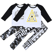 Wholesale new baby boy clothing online - New INS Baby Boys Girls Letter Sets Top T shirt Pants Kids Toddler Infant Casual Long Sleeve Suits Spring Children Outfits Clothes Gift