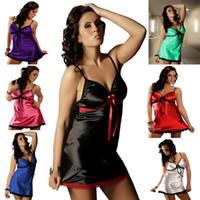 trajes de sexo xl al por mayor-Envío gratis 7 colores más el tamaño Sexy vestido de noche Mujeres Robe Lencería sexy Ropa de dormir caliente Disfraces sexuales Vestido de camisón XL-4XL