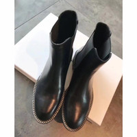 Wholesale Western Boot Chains Ladies - New Arrival Fall Winter Moto Booties Women Flats With Chains Black Color Ladies Western Boots