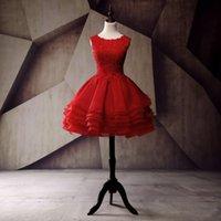 mini red organza dress 도매-파티 드레스 어두운 빨간색 짧은 댄스 파티 드레스 2017 프릴 Organza 빈티지 레이스 Appiques 드레스 졸업 미니 가운