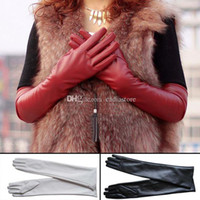 Wholesale Red Leather Opera Gloves - Womens Lambskin Leather Opera Long gloves BLACK Lambskin Warm Lined C00454
