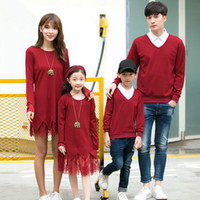 Wholesale Mom Son Outfits - Family Matching Outfits Mother Daughter Lace Dresses Father Son Sweater 2017 Autumn Mom Girls Full Sleeve Dress Family Match Clothing B725
