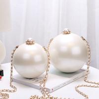 sac de perles blanc achat en gros de-White Pearl chaîne épaule sacs de soirée pour les femmes matériel acrylique ball-forme bandoulière sacs 2 tailles JLN169