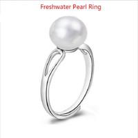 ingrosso perle originali per il matrimonio-Anello di perle d'acqua dolce naturale Anello in vera perla coltivata genuino Anello in argento 925 con perle per le donne Festa di nozze
