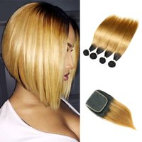 Wholesale honey blonde ombre dark hair online - Malaysian Straight Virgin Hair T1B Dark Root Honey Blonde Extensions Ombre Human Hair Weave Bundles with Lace Closure Free Middle Part