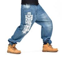 bol kot pantolon toptan satış-Harfler Desen Erkek Pantolon Mavi Baggy Jeans Kaykay Denim Hip Hop Pantolon