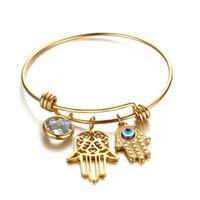 diseño de brazaletes de mano al por mayor-Alex Styles al por mayor Cualquier diseño Ajustable Hamsa Hand Charm Bracelet Acero inoxidable Gold Bangles Jewelry For Men Women