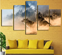 Unframed Three Wolves In The Mountains Roar 5 peças Modern Wall Painting Art Picture Paint on Canvas decoração de casa para sala de estar