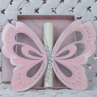 100Set Pink Butterfly Wedding Invitations Customized Printing Pearl Ribbon  Luxurious Wedding Invitation Card With Free Shipping