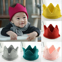 Wholesale Handmade Sweet - Cute Newborn Toddler Baby Infant Soft Handmade Photography Props Cap Sweet Knitted Crown Hat