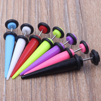 Wholesale Tunnel 5mm - LOT 100pcs 7 color Neon Color Cheat Ear Plugs Fake Ear Taper Illusion Fake Plugs 5mm body jewelry