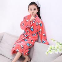 Wholesale Boy Wear Nightgown - Wholesale- 2016 New Autumn Winter Flannel Nightgown Children's Soft Pajamas Boys Girls Child Bathrobe Warm Home Wear Character Tracksuit