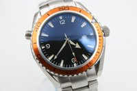 Wholesale Ocean Dresses - brand new watch men automatic mechanical hand wind waches Co-Axial planet ocean watch orange bezel watches men dress wristwatches