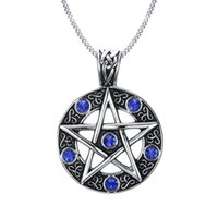 """Wholesale Pewter Gothic Pendants Wholesale - Wholesale- Vintage Style Jewelry Pentagram Pentacle Pagan Wiccan Witch Gothic Pewter Pendant Necklace for Men Woman 24"""" Chain Choker"""