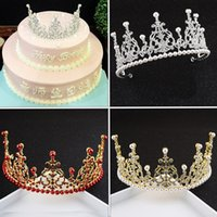 Wholesale Hair Ponytail Holders Jewelry - The bride headdress birthday crown baby with pearl jewelry and makeup style wedding cake baking