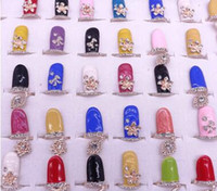 Wholesale Flower Diamond Nails - Newest colours drop oil diamond finger nail ring joint ring flower crown rings many styles 50pieces lot