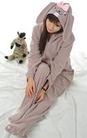 Wholesale Rabbit Onesie Adult - Wholesale- Adult Unisex Animal Lovely Gray Rabbit Footed Onesie Pajamas Sleepsuit Sleepwear