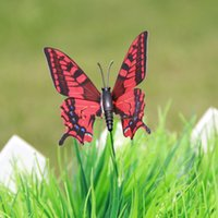 Wholesale Flowerpot Plastics - Colorful Stylish Double Layer Butterfly On Sticks Home Flowerpot Plant Decoration Garden Ornament Lawn Craft