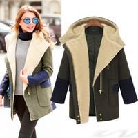 Wholesale Military Jacket Wool Woman - 2016 Winter Military Wool Coat For Women Hooded Quilted Jacket Contrast Color Zipper Cashmere Parka Coats Padded Cotton Outwear