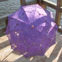 Wholesale Embroidery Umbrella - Classic Multi-color Noble Elegant Palace Style Long Arm Wedding Bridal Umbrella Embroidery Gingham Lace Parasol Sun Umbrella 8 Colors