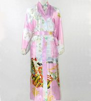 Wholesale Traditional Sexy Chinese Women - Wholesale-New Fashion Pink Chinese Women Silk Robe Sexy Kimono Bath Gown Long Sleepwear Mujer Pijama Plus Size S M L XL XXL XXXL SR013