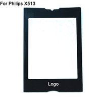 Wholesale New Cell Phones Flex - For Philips Xenium X513 Front Glass Lens With Logo Replacement Cell Phone Screen Cover Without Sensor Flex Cable Brand New Black