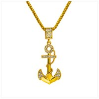 vintage Designer men Pendant Necklace Fashion Mens Punk Rock Micro Rap Hip Hop Necklace Big Anchor Pendant 18k Gold Plated Chains Jewelry