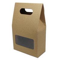 Wholesale Paper Package For Food - Wholeasle 10pcs Lot Brown Kraft Paper Gift Box With Handle Clear Window For Wedding Party Candy Packaging Box