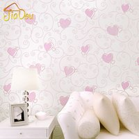 3D Pink Love Heart Cartoon Princesa Girl Room Background Wallpaper Roll 3D Embossed Flocado Non Woven Kids Wall Covering Paper