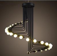 lámpara colgante en espiral al por mayor-Lámpara colgante vintage moderna Loft Lámpara de escalera de caracol de hierro Lámpara colgante Lámpara colgante lámpara antigua americana