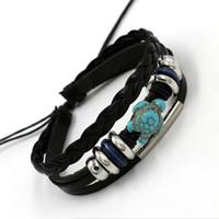 Wholesale Option Process - 2016 Factory outlets tortoise bracelets for men women Fashion Sea turtle Drawstring Process Woven Charm Bracelet 2 colors options