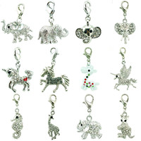 Wholesale elephant mix for sale - Group buy 12pcs Mix Sale White Rhinestone Elephants Horse Animal Charms Pendants With Lobster Clasp DIY For Jewelry Making Accessories