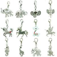 ingrosso gioielli in elefante per la vendita-12pcs / Lot Mix vendita bianco strass elefanti cavallo pendenti di fascini degli animali con chiusura aragosta fai da te per gioielli che fanno accessori