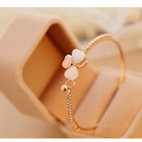 Wholesale Cheapest White Diamond - Cheapest and high quality Korean Clover Bangle Bracelet Opal Diamond Delicate Butterfly Heart Bracelet best gift for female in party