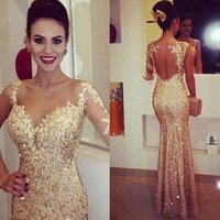 Wholesale Modern Fit Shirts - ZQ027 Sparking Gold Fitted Evening Dresses 2017 Lace Appliques Sheer Long Sleeve Open Back Sequin Prom Dress Party Ball Glitzy Pageant Gowns