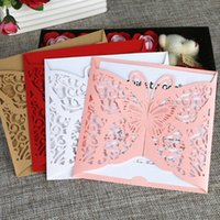 Wholesale Spring Butterflies Invitations - Country butterfly holiday invitations gold red pink spring summer wedding invitations laser cutting party invite cards