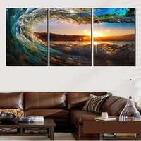Wholesale Great Wall Decor - 30*50Cm New Arrival Wall Art Decor Unframed Paintings The Great Waves Sunset Design Pattern Spray Paintings Art Printings 3 Panels