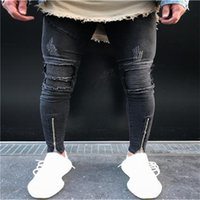 Wholesale Knee Pants For Men - 2017 European American Style fashion Men's casual Ripped Pencil trousers jeans Skinny zipper knee jeans for men Denim Pants