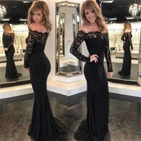 Wholesale Brides Reception Dresses - 2017 Black Lace Evening Dresses Off Shoulders Vintage Long Sleeves Backless Mermaid Fiesta Sexy Reception Prom Dresses Mother of Bride Gowns