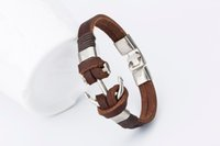Wholesale Lobster Claw Charm Hook - Good price !2016 Fashion Charm Leather Anchor Men's Bracelets Hot Bangle Handmade Leather Bracelets Hooks Men's Bracelets !