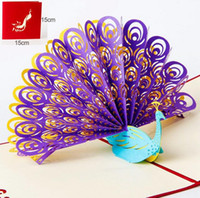 Wholesale Handmade Wedding Cards Designs - Perfect 3D Pop Up birthday Wedding party Card Peacock Design Christmas Postcard New Year Greeting Card Handmade Folding Kirigami