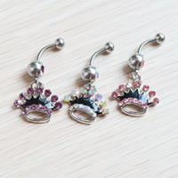 Wholesale Body Piercing Accessories - D0149 Mix colors style belly ring Crown style piercing jewelry Rings Body Piercing Jewelry Dangle Accessories Fashion Charm 10PCS
