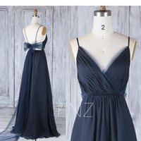 Wholesale Bow Tie Chiffon Dress - Spaghetti Strap A line Bare Back Bridesmaid Dresses with Bow Tie Long Real Photo Custom Made Formal Lady Dress