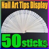 Wholesale Natural Stick Nails - 50Pcs set Display Board Fan Foldable White Natural False Nail Art Tips Sticks Polish Fan Practice Tool